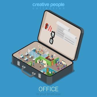Micro bureau mobile dans le concept de grande mallette plat 3d concept infographique isométrique web