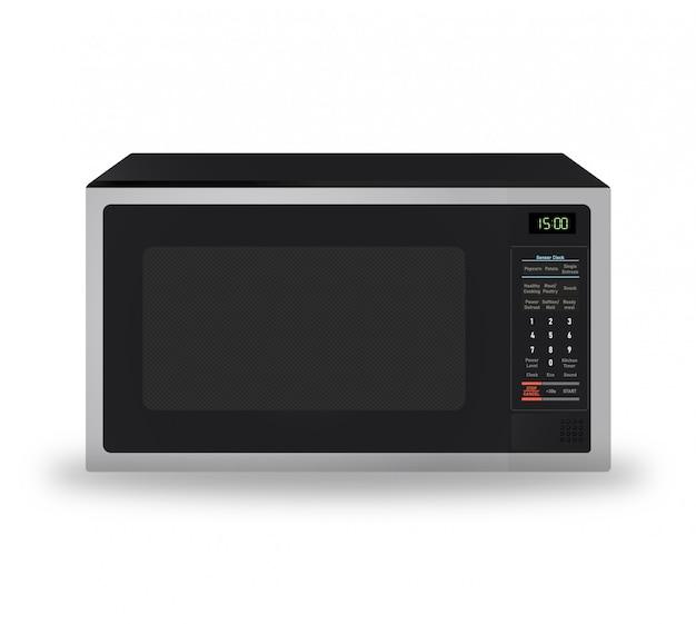 Micro-ondes moderne réaliste pour appareil de cuisine