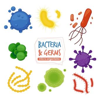 Microbes. biologie pandémie virus allergène et pathogène microscopique vues collection de bactéries