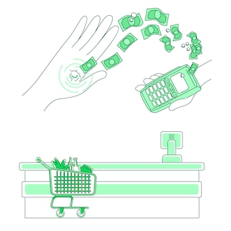 Microchip et terminal de paiement illustration de concept de ligne mince. transaction sans contact, personnes avec personnage de dessin animé 2d e-money pour la conception web. appareil intégré dans l'idée créative de la main humaine