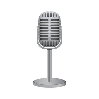 Microphone argent vintage isolé