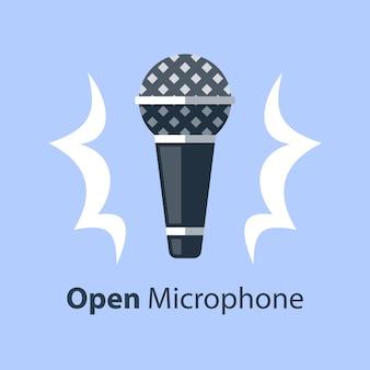 Microphone dynamique, stand de comédie à micro ouvert, événement de performance