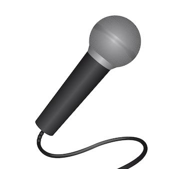 Microphone gris sur illustration vectorielle fond blanc