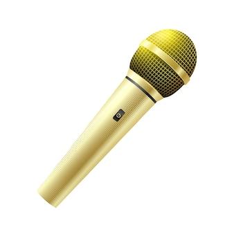 Microphone karaoké doré isolé