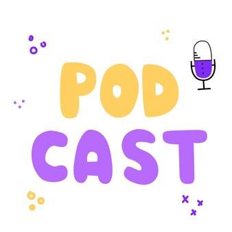 Microphone podcast et étiquette de couleur isolé sur fond blanchébergement de médias de diffusion