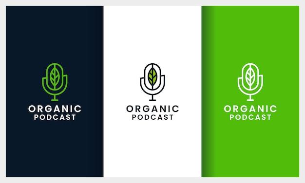 Microphone de podcast avec modèle de conception de logo de ligne art feuille concept