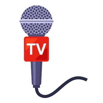 Microphone pour télévision. nouvelles chaudes pour la télévision. plat