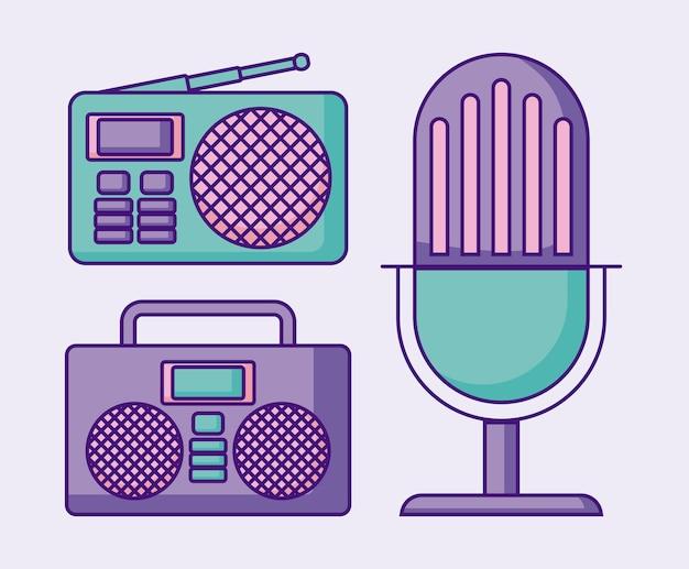 Microphone rétro avec boombox stéréo et radio