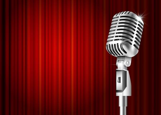 Microphone et rideau rouge