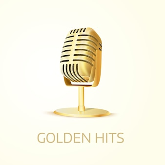Microphone de studio doré brillant