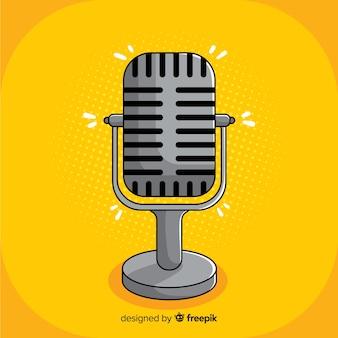 Microphone vintage dessiné à la main
