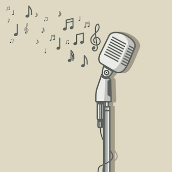 Microphone vintage avec illustration vectorielle de note de musique symbole
