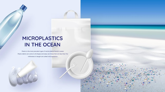 Microplastiques dans l'océan illustration réaliste avec côte de la mer, eau contaminée et sources microplastiques