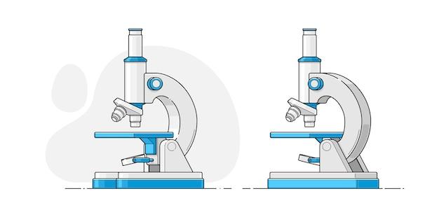 Microscope Dans Un Style Plat Avec Un Contour Fin Sur Un Fond Isolé Vecteur Premium