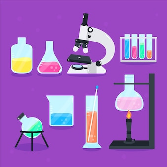 Microscope et flacons de laboratoire scientifique