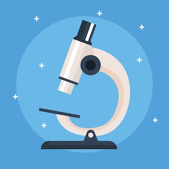 Microscope, instrument de laboratoire sur fond bleu illustration