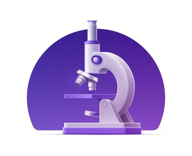Microscope réaliste 3d sur fond isolé pour la conception médicale.