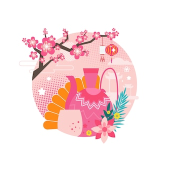 Mid autumn festival circle set illustration