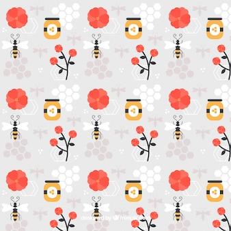 Miel avec des abeilles et des fleurs modèle