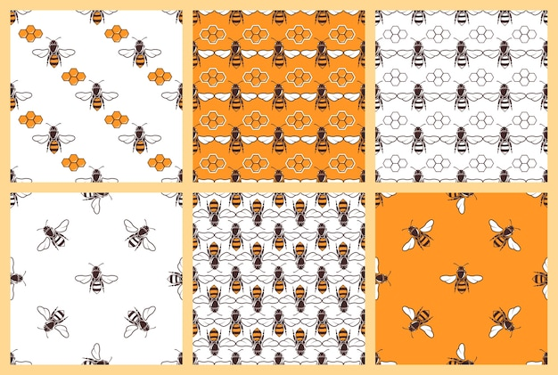 Miel et abeilles vector modèles sans soudure