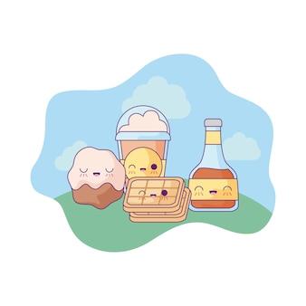 Miel avec gaufre et set de nourriture dans le style kawaii du paysage