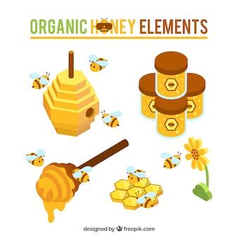 Miel mignon objets avec des abeilles dans le style isométrique