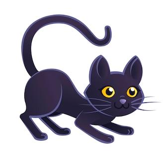 Mignon adorable chat noir dessin animé animal design plat illustration vectorielle sur fond blanc.