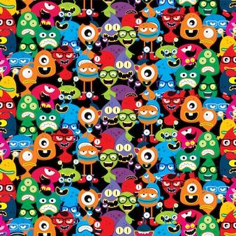 Mignon adorable moche moche monstre effrayant effrayant set vector art