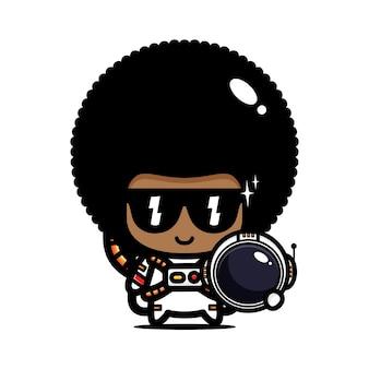 Mignon afro vêtu d'un costume d'astronaute