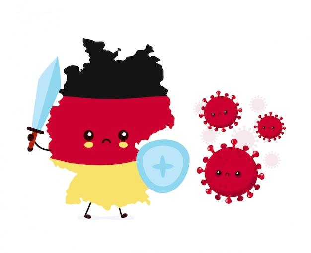 Mignon allemagne se bat contre une infection à coronavirus illustration de personnage de dessin animé de style plat