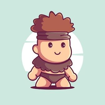 Mignon ancien homme mascotte vecteur icône illustration de personnage de dessin animé