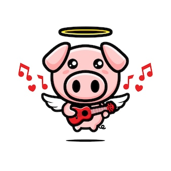 Mignon ange cochon jouant du ukulélé