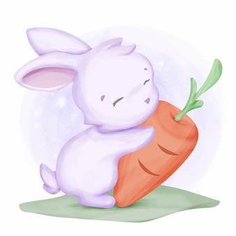 Mignon animal lapin amour carotte