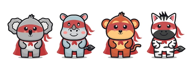 Mignon animal super héros dessin animé icône illustration concept de héros animal