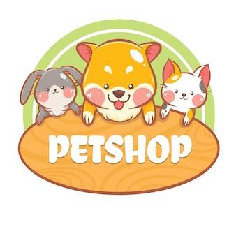 Mignon une animalerie et un logo de dessin animé de soins pour animaux de compagnie