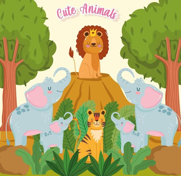 Mignon, animaux, arbres, nature, dessin animé