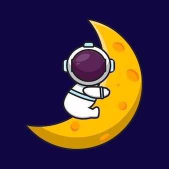 Mignon, astronaute, caractère, étreinte, lune, dessin animé, vecteur, icône, illustration, science, technologie, icône, concept