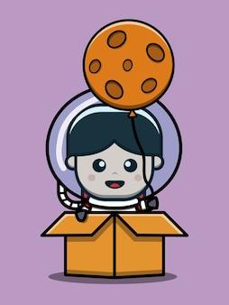 Mignon, astronaute, garçon, dans, boîte, dessin animé, icône, illustration