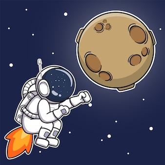 Mignon astronaute pet sur la lune