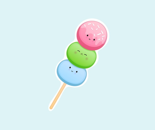 Mignon autocollant de dessert sucré souriant heureux vecteur premium