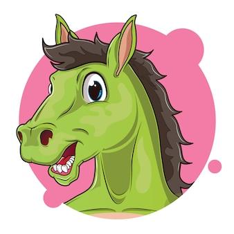 Mignon avatar de cheval vert