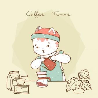 Mignon barista chat hipster en tablier verser du café goutte à goutte