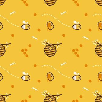 Mignon battant petit nid d'abeille ruche abeille avec miel pot vecteur sans soudure de fond