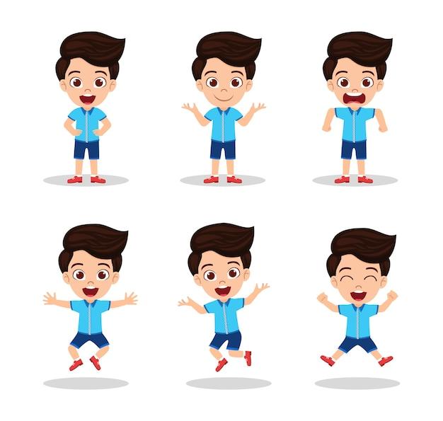 Mignon beau garçon enfant avec différentes expressions
