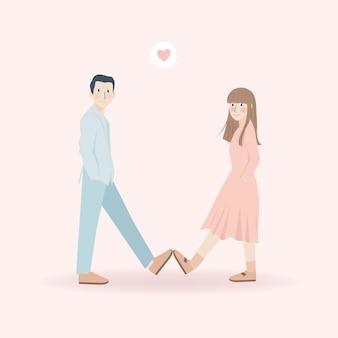 Mignon beau jeune couple faire cinq avec illustration de chaussures