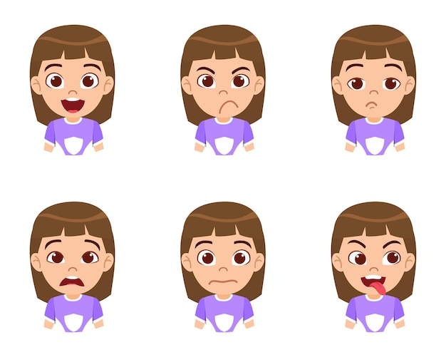 Mignon beau personnage de fille enfant montrant des émotions et des expressions faciales différentes avec un beau t-shirt