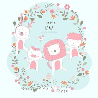 Le mignon bébé animal heureux de tous les jours. dessin animalier style animalier