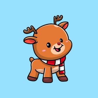 Mignon bébé cerf moose, personnage de dessin animé
