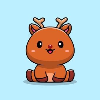 Mignon bébé cerf, personnage de dessin animé