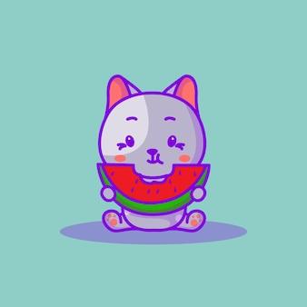 Mignon bébé chat manger illustration de dessin animé de pastèque